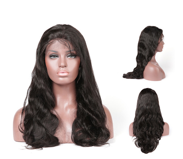 Glueless unprocessed virgin remy human hair long natural color body wave full lace top wig most popular for white women