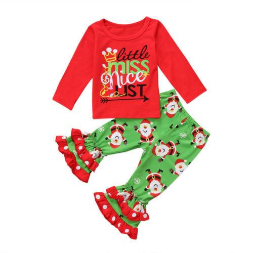 Retail 2 styles enfants survêtement de Noël 2pcs Outiflts set New Year Girl Lettre Top + Pantalon évasé Imprimer Santa Suit enfants vêtements ensembles