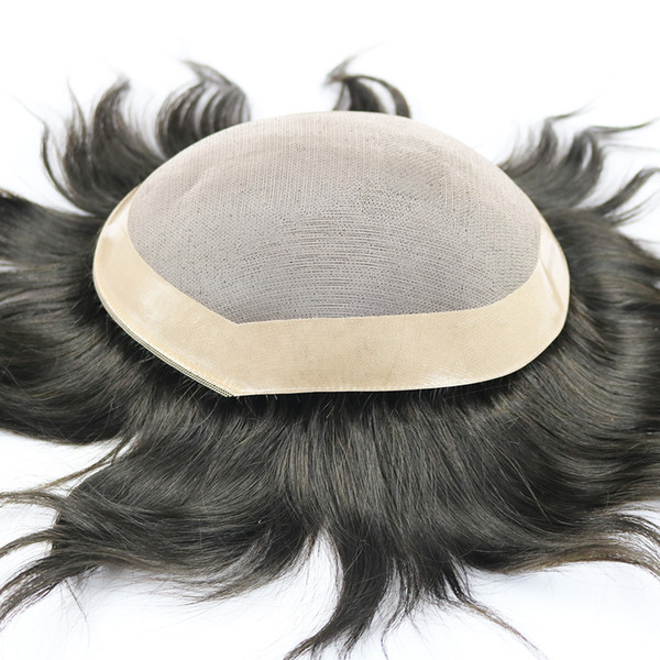 100% Human Hair Toupee For Men Mono Lace With NPU Human Hair Toupee Replacement System Natural Straight 5 Colors
