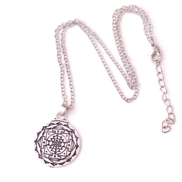 V8 Silver Plated Mandala Chakra 3rd Eye Charm Pendent Hindu Goddess Yoga Religion Amulet Necklace