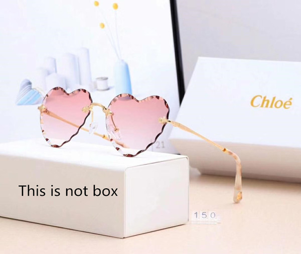 Designer Sunglasses Luxury Sunglasses Rimless Heart-shaped Glass for Woman Adumbral Glasses UV400 with Box High Quality Brand C150 6colors