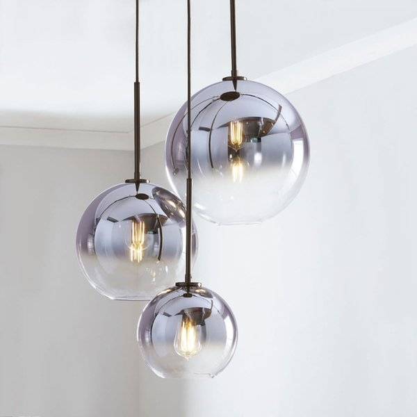 Retro Moderna placcato sfera di vetro Sala da pranzo luce del pendente creativo Coffee Shop Foyer Camera Comodino Led Hanging Light Fixtures