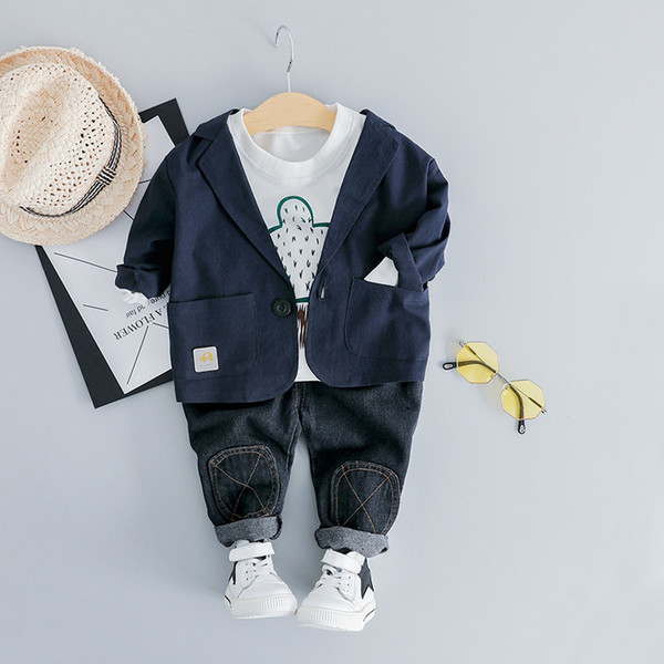 Toddler Baby Boy Formal Clothes Set 2019 Newest Spring Clothing For Toddler Letter T shirt + Pants Outfit 1 2 3 4 Years