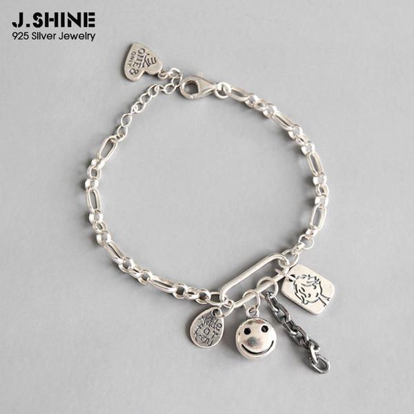 JShine 925 Pulsera colgante de cadena de cara de sonrisa de plata esterlina para mujer Pulsera de cadena de eslabones de plata tailandesa Joyería de plata 925 para mujer