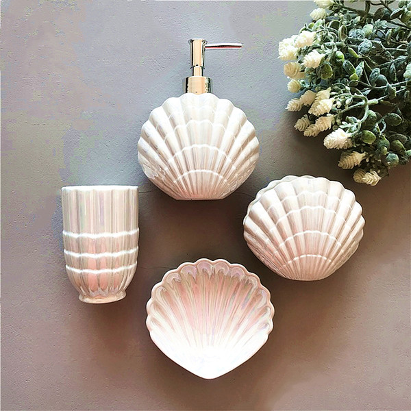 Royal Ceramic Bathroom Accessories Luxury Pearl White Elegant 5 Pieces Bathroom Sets 1 Soap Bottle+1 Soap Dish +1 Toothbrush Holder+2 Cups