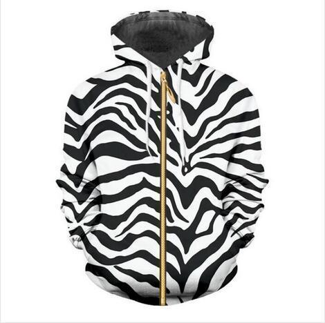 New Fashion Felpe uomo / donna Streetwear Zebra Stripes 3d stampa zip Hoodies Jacket Drop Shipping DH036