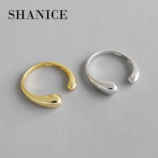 SHANICE подлинный стерлингового серебра 925 открытое кольцо гладкое падение личности регулируемое кольцо изысканные ювелирные изделия для женщин аксессуары для вечеринок