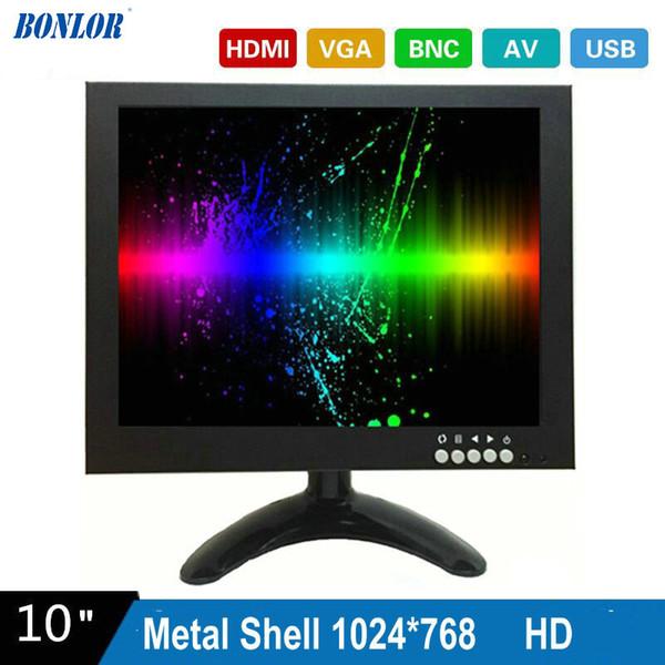 10 Inç 1024X768 HD CCTV Monitör Metal Kabuk ile HDMI VGA AV BNC Bağlayıcı PC Multimedya Donitor Ekran için Mikroskop Için Ücretsiz nakliye