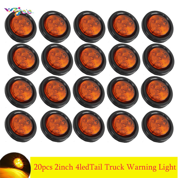 """top popular 20pcs Car 2"""" Red 4LED Round Stop Turn Tail Truck Warning Light Grommet Wiring 2021"""