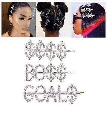 Simbolo del dollaro Bling lettere Bobby perni di capelli Headwear lusso clip cristallo inciso Strass capelli per le donne ragazze Sparkle Barrette dei capelli Strumento