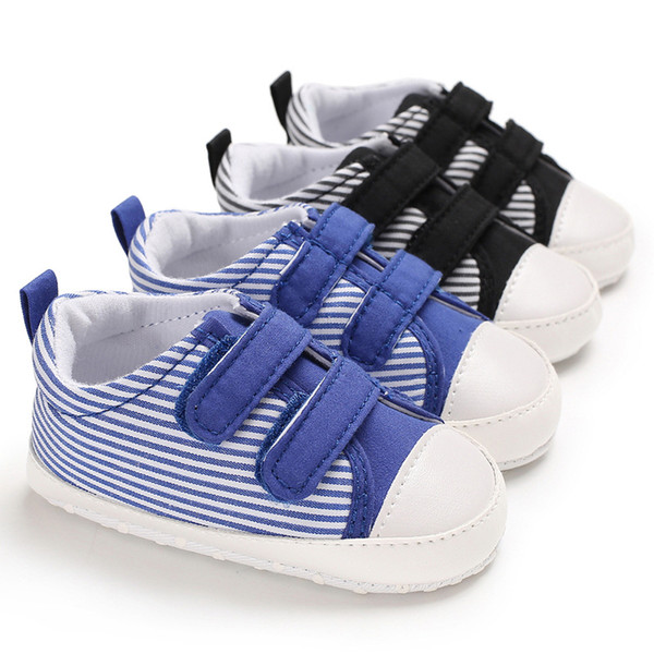 2019 0-1 years old spring and autumn new boys baby shoes soft canvas black blue stripes casual baby toddler shoes