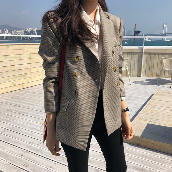 BGTEEVER Classic Plaid Doppio petto Giacca donna Blazer con intaglio Colletto donna Abiti Cappotto Moda Pied de poule 2019 Primavera