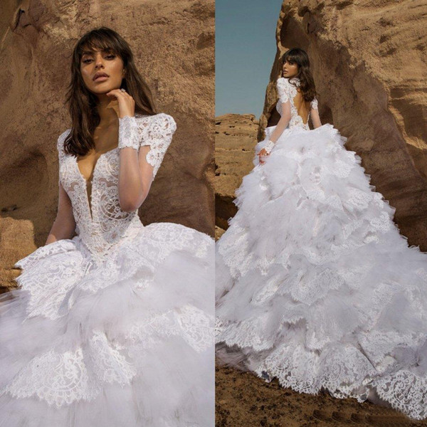 New Grogeous Lace White Ball Gown Wedding Gowns Long Sleeve Plunge Neckline Cut Out Back Tiered Bottom Pnina Tornai Bridal Dresses
