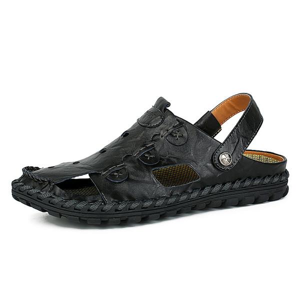 cc3653f49 Удобные кожаные сандалии мужские черные сандалии скольжения на обувь  больших размеров 38-46 мужские сандалии