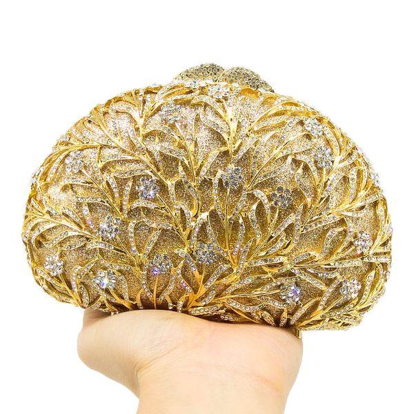 02d5efaa1c394 Dgrain Elegant Gold Howllout Out Women Crystal Evening Bag Metal Clutch  Handmade Crystal Wedding Handbag Party