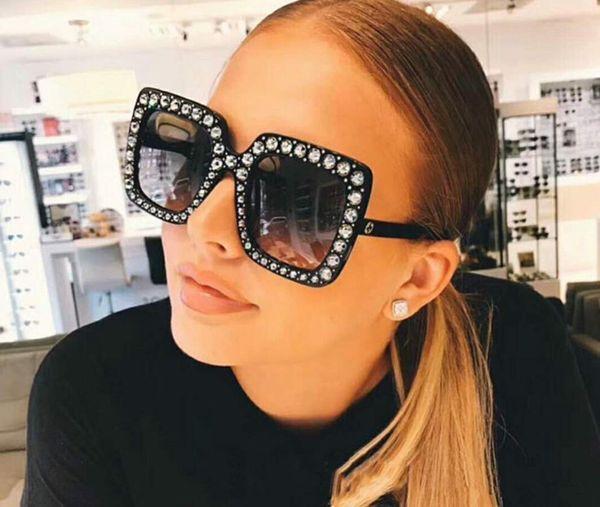 Big diamond Sun Glasses Square colored Shades Women Oversized Sunglasses Retro Top Crystal Trend Rhinestone free ship