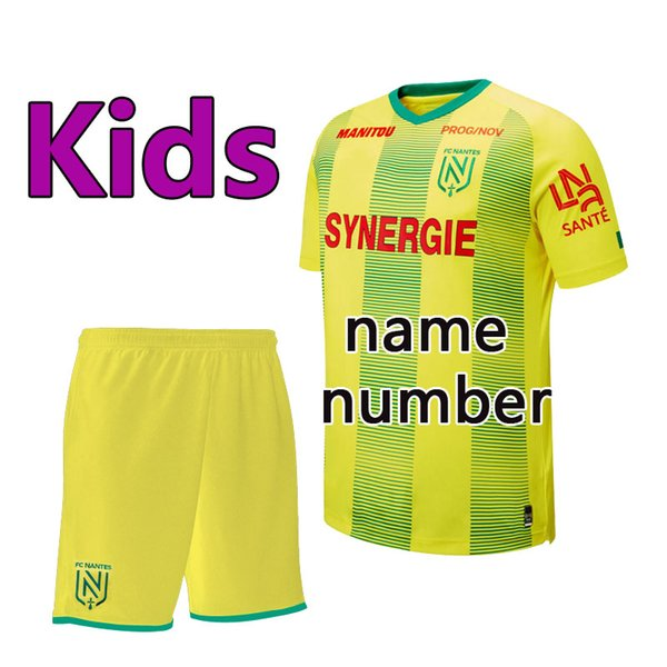 top popular Thai version quality 19 20 FC Nantes kids soccer sets kids Kit sets 19 20 FC Nantes boys football Shirt uniforms FC Nantes youth football k 2019