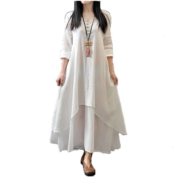 Dress Spring Autumn 2019 Fashion Women Casual Loose Long Sleeve V Neck Solid Long Maxi Dress Plus Size 5Xl