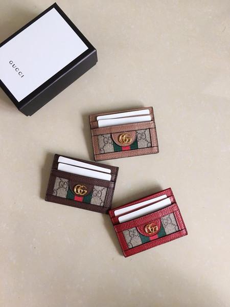 moda Hot Red e titular do cartão tecido verde para mulheres dos homens carteiras curtas embreagem saco de couro real dos homens portadores de cartão de negócio com caixa de W10xH7cm