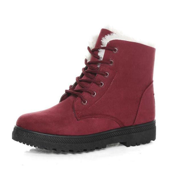 Женщины зимние сапоги женщины зимняя обувь плоский каблук лодыжки повседневная милые теплые ботинки мода снегоступы Женские сапоги
