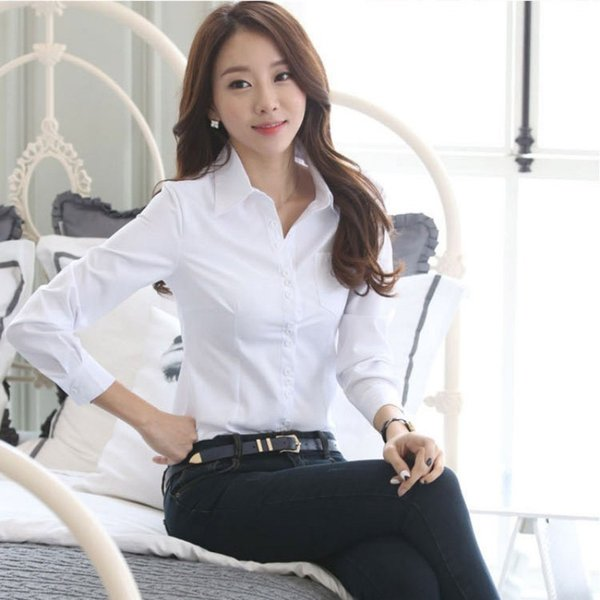 Autumn Spring Career White Shirt Female Long-sleeved Slim Shirt Formal Blouse Overalls Ol drop shipping good quality