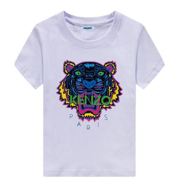 New FashionKENZO Children's Baby Boys and Girls Clothing Tiger Head Tops Short Sleeve Cotton T-Shirt Casual Summer T-Shirt Clothes