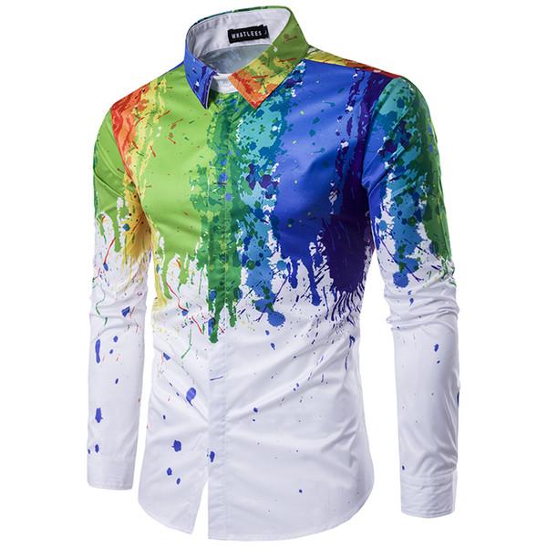 Erkekler Gömlek 2018 Erkek Kentsel Moda Gömlek Mürekkep Splash Boya Renk Kendini Yetiştirme Eğlence 6 Renk Uzun Kollu Gömlek Büyük boy