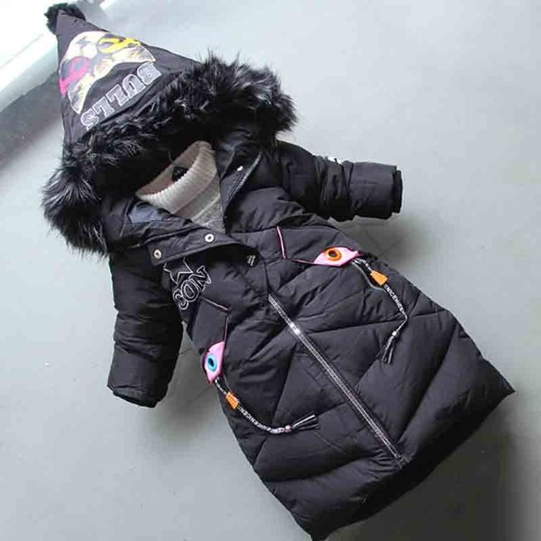 good quality fashion children winter jacket kids warm thick fur collar hooded long down cotton coats 2019 new girl winter coat