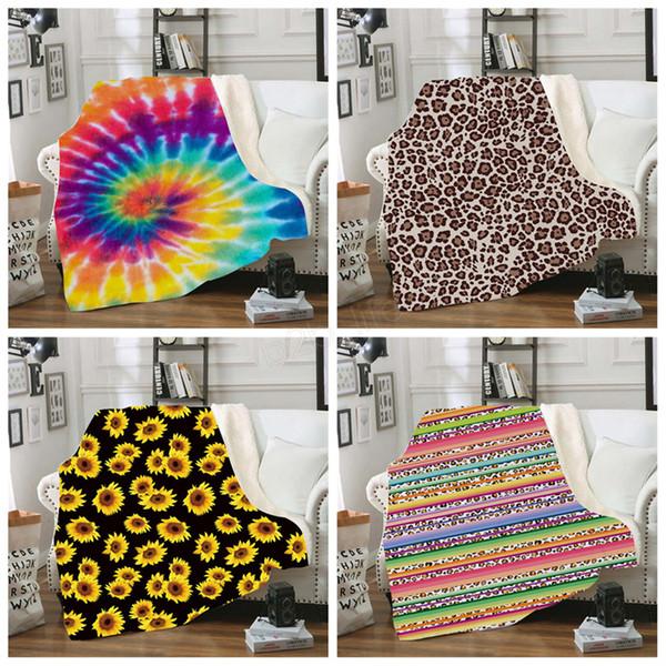 best selling Sherpa Blanket 150*130cm sunflower floral striled leopard 3D Printed Kids Winter Plush Shawl Couch sofa throw Fleece Wrap LJJA2961