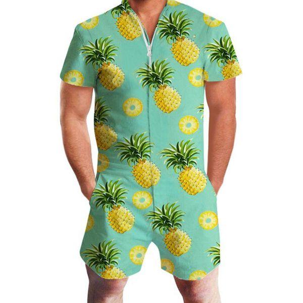 Pineapple Print Men Romper Hawaii Jumpsuit Romper Summer Hoiday Playsuit Overalls One Piece Slim Fit Beachwear Casual Men's Sets