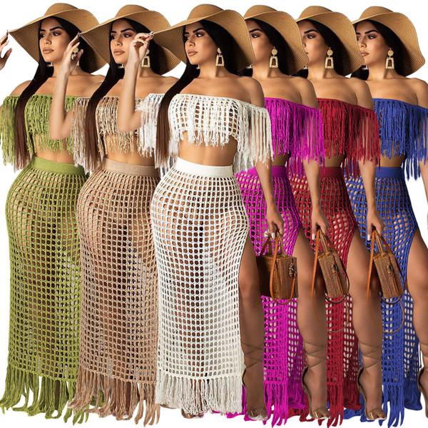 4b92eb6fa5 New Fish net tassel beach cover ups sets women off shoulder tops long  skirts bikini swimwear