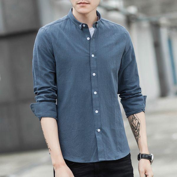 Business Man Shirt 2019 New 100% Cotton Youth Slim Fit Fashion Comfortable Long Sleeve Dress Shirt Tuxedo Men Camisa Masculina