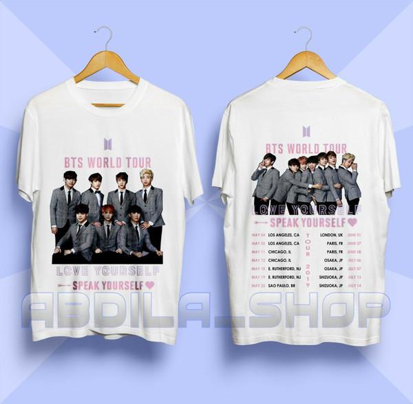 Camiseta BTS Kpop Háblame Ama la gira mundial 2019 Bangtan Boys Shirt