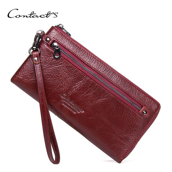 New Genuine Leather Purse For Women Fashion Zipper Ladies Long Clutch Wallets Big Capacity Wallet With Card Holder and Phone Bag