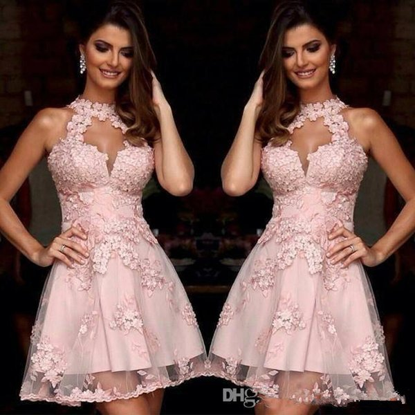 Fashion Pink Short Cocktail Dresses A-Line High Neck Applique Lace Homecoming Dresses Sheer Discount Cheap Arabic Prom Party Gowns 2019