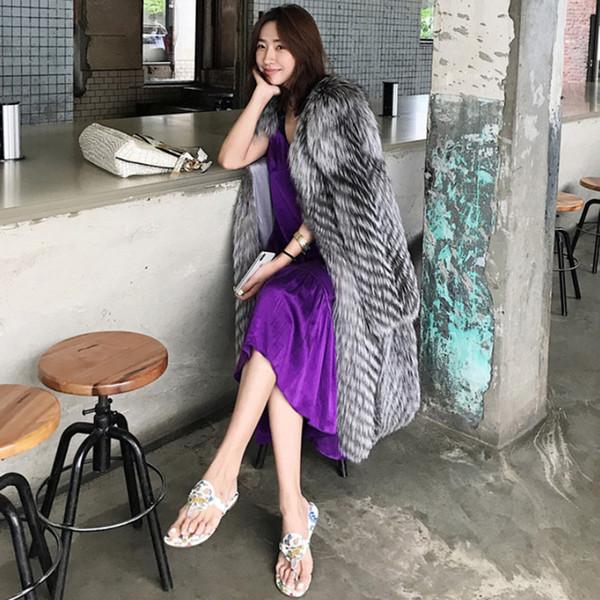Artı boyutu S-6XL Faux Fox Kürk Uzun Coat Kış Kadın uzun Sıcak Fox Kürk Parka Coat Kadın Kalınlaşmak Gevşek Ceket Bayan Palto
