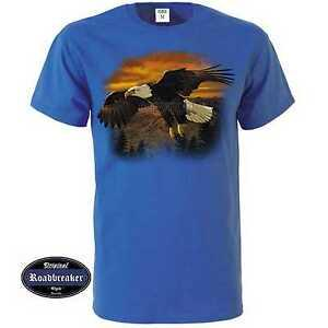 T Shirt Royal Blue with an Eagle Animal -/Nature Motif Model Eagle Brown