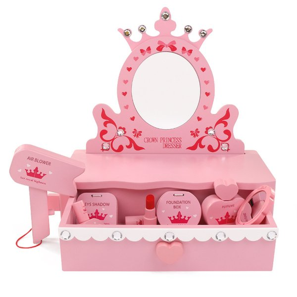 Safety Wooden children's makeup toy Simulation wooden dressing table mirror Princess cosmetics set toys for children girls gift