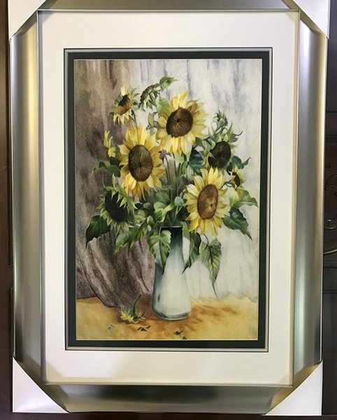 Handmade Art Crafts 100% Mulberry Silk Thread Finished Suzhou Embroidery not include frame ,home decor sunflower ,40*60cm