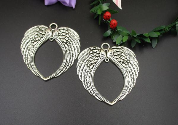 Plata grande del ala encantos, 65 x 68 mm, 5PCS / Lot, pendientes, collar de regalo de joyería hacer los colgantes-p1406