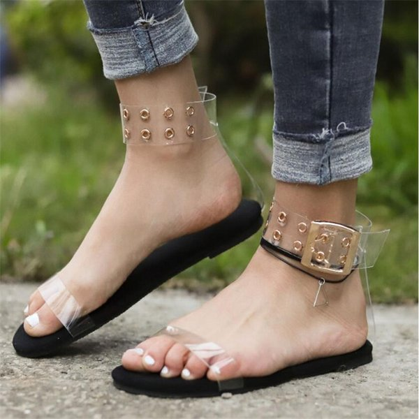Women Ankle Buckle Sandals Roman Gladiator Flat ShoesTransparent Open Toe Summer