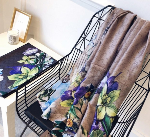 New women's designer scarf printed silk shawl light and soft breathable Italian brand design silk scarf 180x90cm
