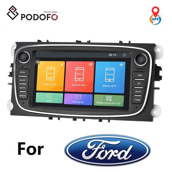 Podofo Android 8.1 Voiture DVD Radio Autoradio 7 '' à écran tactile Navigation GPS WIFI MP5 Bluetooth FM pour Ford Focus Mondeo C-MAX S-MAX
