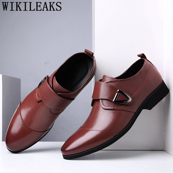 Deri ayakkabı erkekler resmi İtalyan iş ayakkabıları erkekler oxford deri kuaför kahverengi elbise klasik sapatos masculino bona
