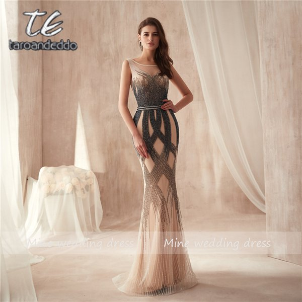 O-neck High Design Multicolor Beading Mermaid Prom Dress 2019 Sleveless Slim High Quality Evening Dress Vestido De Festa Y19042701