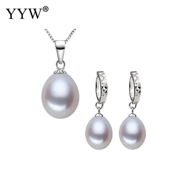 Genuine Freshwater Pearl Jewelry Set 8-9mm Pearl Beads Pendant Necklace Earring Set 925 Sterling Silver Box Chain Necklace Women