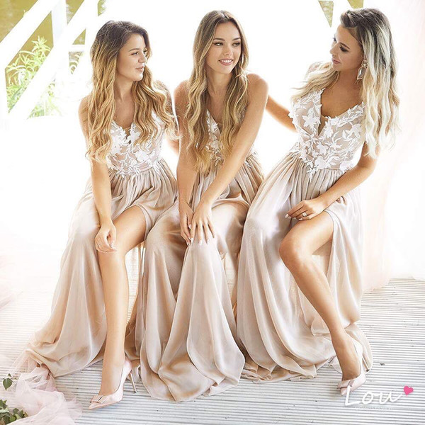 Designer Top Floral country bridesmaid dresses champagne Summer Beach High Slit Chiffon Formal Long Prom Dress 2019 New Cheap Maid of Honor
