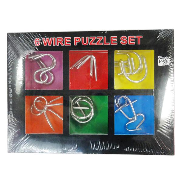 6 Unids Metal Inteligencia Hebilla Anillo Ultimate Juguete Educativo Montessori Puzzle Wire IQ Mind Brain Teaser Puzzles Para Niños