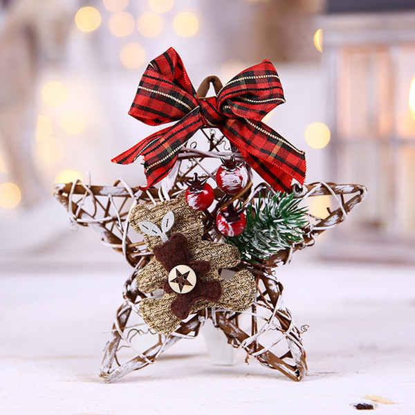 Mini Christmas Wreath Decor Xmas Party Door Wall Hanging Garland Tree Ornament christmas tree ornaments wooden hanging pendants