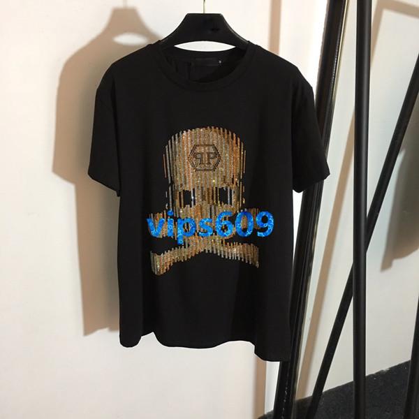 Estate nuova sottile a maniche corte T-shirt da donna con teschio scheletro Punta adesiva a maniche corte T-shirt a maniche corte T-shir moda casual